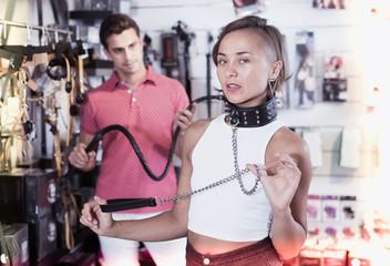 modern couple choosing collar  and  lash