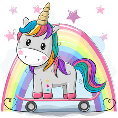 Cute Cartoon Unicorn with skateboard
