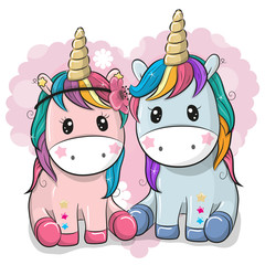 Two Cute Unicorns on a heart background