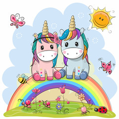 Two Cartoon Unicorns are sitting on the rainbow