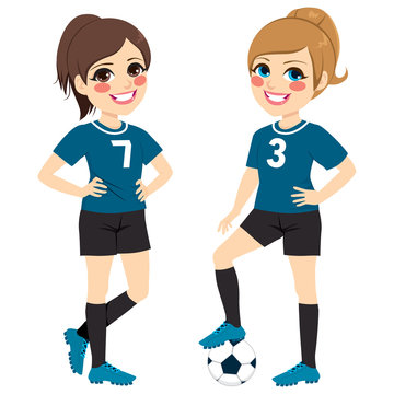 Two beautiful soccer girl players with black and blue uniform