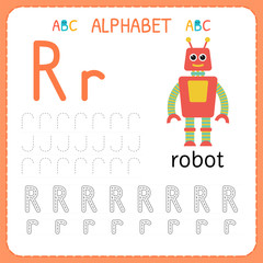 Alphabet tracing worksheet for preschool and kindergarten. Writing practice letter R. Exercises for kids