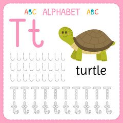 Alphabet tracing worksheet for preschool and kindergarten. Writing practice letter T. Exercises for kids