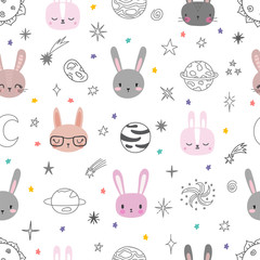 Cute space seamless pattern with cartoon bunnies. Abstract print with animals. Hand drawn nursery background with funny rabbits for little kids