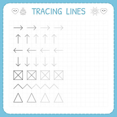 Tracing lines. Working pages for children. Preschool or kindergarten worksheets. Basic writing. Trace the pattern. Worksheet for kids