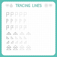 Tracing lines. Worksheet for kids. Trace the pattern. Basic writing. Working pages for children. Preschool or kindergarten worksheets