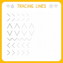 Tracing lines. Worksheet for kids. Working pages for children. Preschool or kindergarten worksheets. Basic writing. Trace the pattern