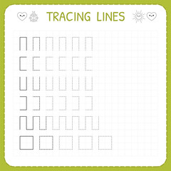 Tracing lines. Worksheet for kids. Working pages for children. Preschool or kindergarten worksheets. Trace the pattern. Basic writing