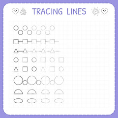 Tracing lines. Worksheet for kids. Working pages for children. Trace the pattern. Basic writing. Preschool or kindergarten worksheets