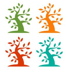 Set of Colorful Season Tree Bold icons. Vector illustration.