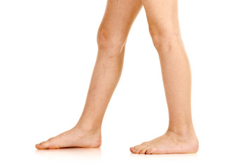 Side-view of barefoot legs