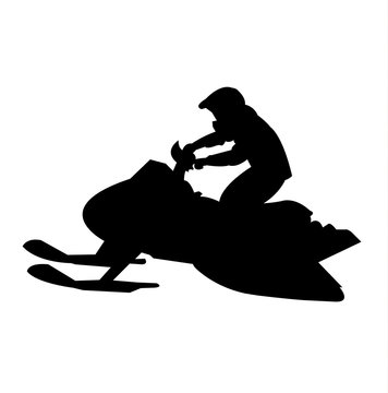 Simple, black snowmobile silhouette