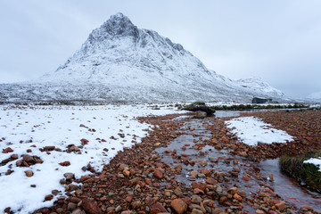 Buchaille Etive Mor in the snow, Glencoe, Scottish Highlands, Scotland, United Kingdom, Europe