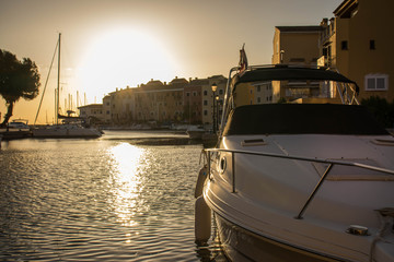 Beatiful sunrise at mediterranean harbor