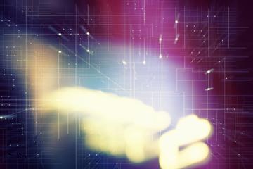 Tech Hintergrund mit Vektoren mit Lichtreflexen