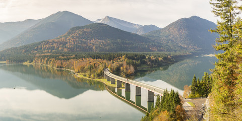 Sylvenstein Lake and bridge in autumn, Bad Tolz-Wolfratshausen district, Bavaria, Germany, Europe
