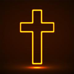 Glowing christian cross. Religious symbol. Vector illustration