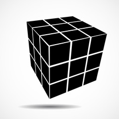 3D black geometric cube. Geometric element, vector