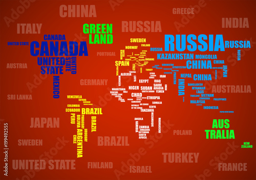 Typography colorful world map with country names stock image and typography colorful world map with country names gumiabroncs Image collections