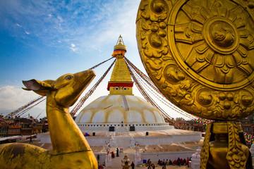 Golden deer statue of Boudhanath Stupa, UNESCO World Heritage Site, Kathmandu, Nepal, Asia