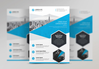 Flyer Layout with Blue Geometric Accents