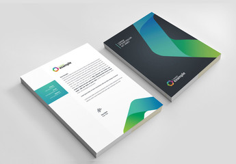 Letterhead Layout with Gradient Curve Design