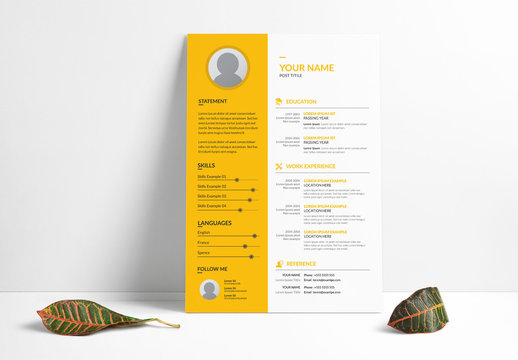 Resume Layout Set with Yellow Sidebar