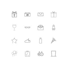 Holidays simple linear icons set. Outlined vector icons