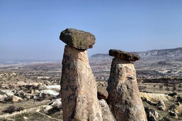 Three Graces (Three Beautifuls) rock hills in Devrent valley in Cappadocia, Nevsehir, Turkey