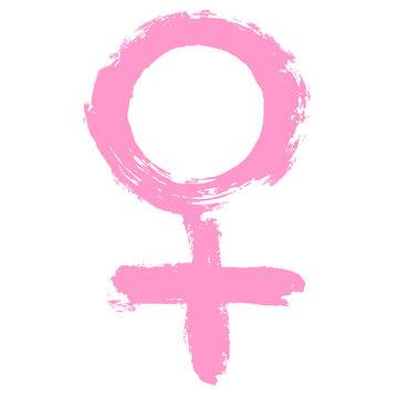 Women's rights. Women's Day. Health care and medicine. Feminism icon sign. Hand drawn women's logo. Feminist movement. Woman symbol. Pink badge of honor. Girls power. Gender symbol. Venus symbol