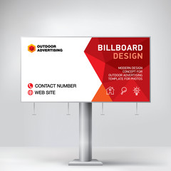 Billboard banner, modern design for outdoor advertising, template for posting photos and text, geometric background vector
