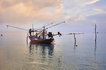Squid fishing boat, Koh Samui, Thailand, Southeast Asia, Asia