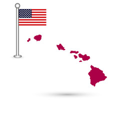 Map of the U.S. state of Hawaii on a white background. American