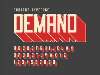 Protest display font design, alphabet, character set, letters and numbers