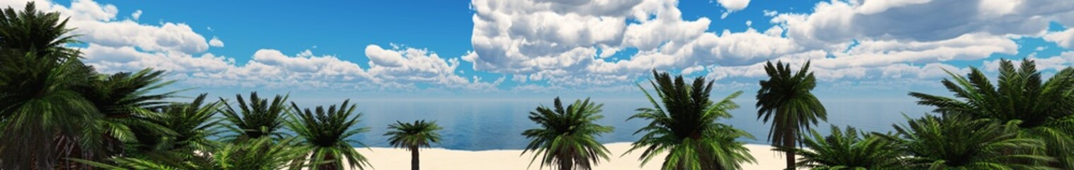 panorama of a tropical beach with palm trees, beautiful tropical beach, 3D rendering
