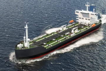 Oil tanker sailing in ocean, 3D rendering