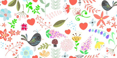Spring floral seamless pattern background 400x200.