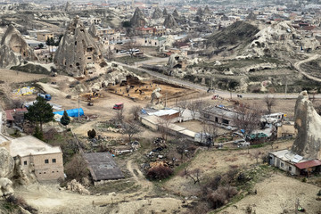 Goreme located among the fairy chimney rock formations, is a town in Cappadocia, a historical region of Turkey