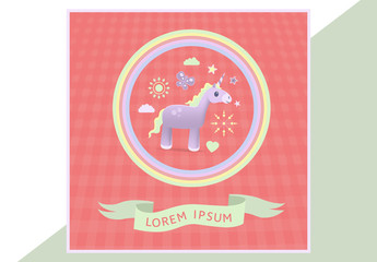 Social Media Post Layout with Unicorn Graphic