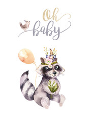 Cute watercolor bohemian baby raccoon animal poster for nursary with bouquets, children alphabet woodland isolated forest illustration. Baby shower animals invitation