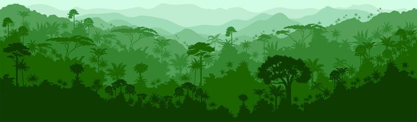 Vector horizontal seamless tropical rainforest Jungle background