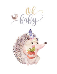 Wall Mural - Cute watercolor bohemian baby hedgehog animal poster for nursary with bouquets, alphabet woodland isolated forest illustration for children. Baby shower animals invitation