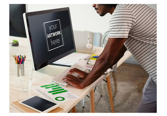 Man Working at Desktop Computer Mockup