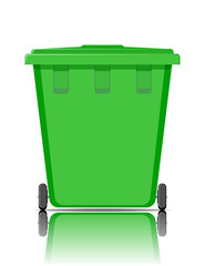Realistic green recycle bin for trash and garbage with reflection.