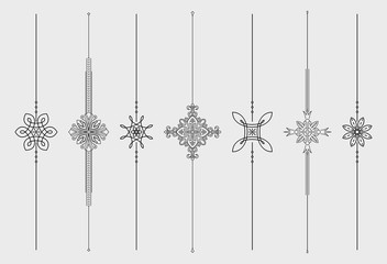 Set of 7 vertical vector mono line style text dividers, decorative elements for your design.