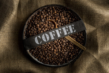 Coffee bean in  bowl with title Coffee