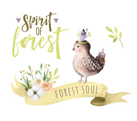 Wall Mural - Cute watercolor bohemian baby bird sparrow animal poster for nursary, woodland isolated forest illustration for children. Baby shower invitation