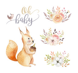 Cute watercolor bohemian baby squirrel animal poster for nursary with bouquets, alphabet woodland isolated forest illustration for children. Baby shower animals invitation