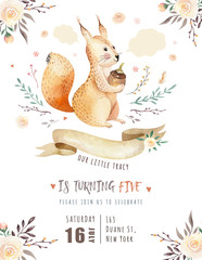 Fototapete - Cute watercolor bohemian baby squirrel animal poster for nursary, alphabet woodland isolated forest illustration for children. Baby shower animals invitation