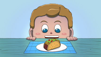 Close-up illustration of a white boy staring at a taco on the table.